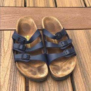 BIRKENSTOCK Florida Sandal In navy size 40 narrow